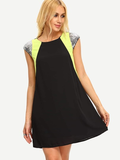 Black Cap Sleeve Sequin Zipper Back Dress