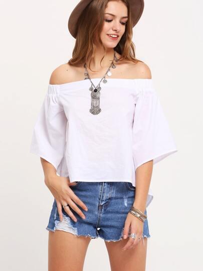 White Off The Shoulder Split Back Blouse