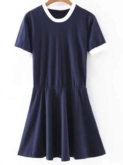 Navy Short Sleeve Knit Skater Dress