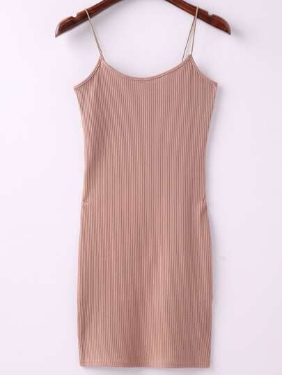 Khaki Ribbed Spaghetti Straps Sheath Dress