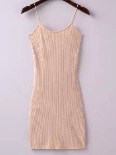 Apricot Ribbed Spaghetti Straps Sheath Dress
