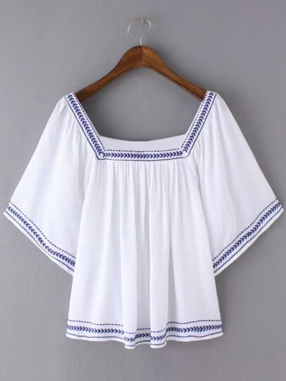 White Bell Sleeve Square Collar Embroidery Blouse