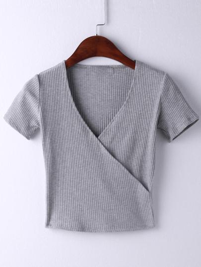 Grey Short Sleeve Cross V Neck T-shirt