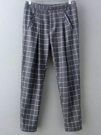 Grey Pockets Plaids Harem Pants