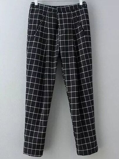 Black Pockets Plaids Harem Pants