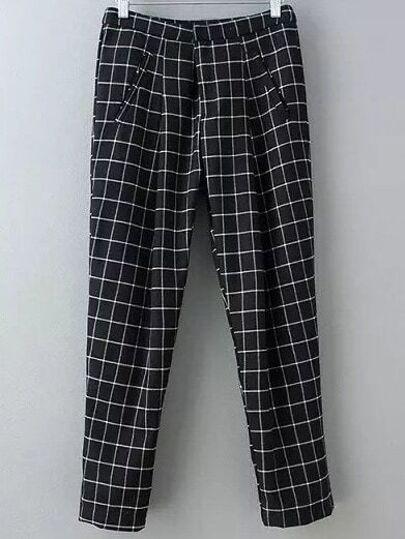 Black Pockets Plaids Harem Pants
