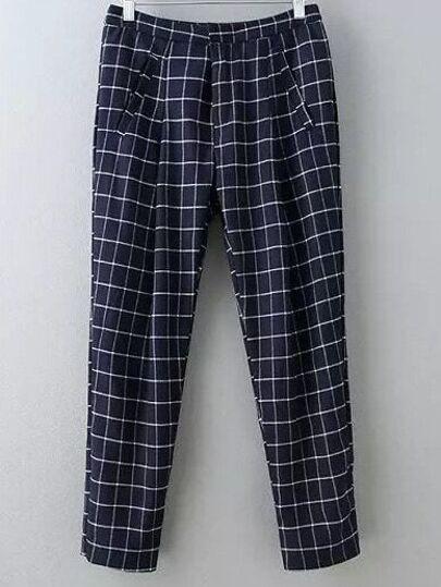 Pantalones bolsillos cuadros -azul oscuro