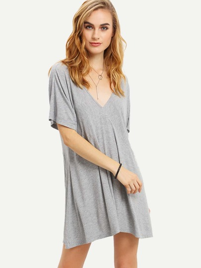 Light Grey Short Sleeve Crisscross Back Dress