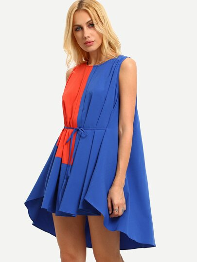 Multicolor Patchwork Tie Waist Dip Hem Shift Dress