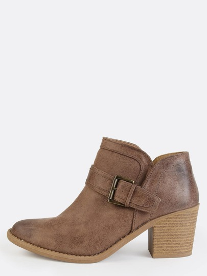Western Inspired Buckle Ankle Boots TAUPE