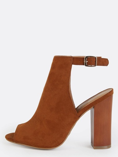 Faux Suede Chunky Heel Ankle Boots CHESTNUT
