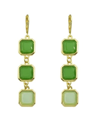 Green Gemstone Long Drop Earrings