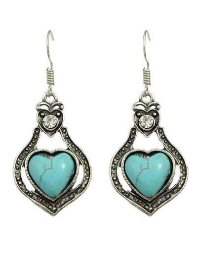 Turquoise Heart Shape Drop Earrings