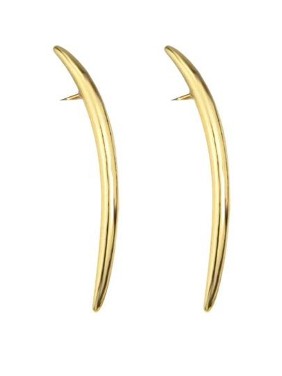 Gold Stud Long Earrings