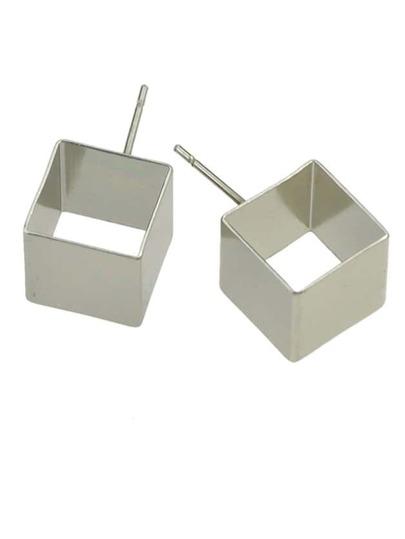 Silver Small Geometric Stud Earrings
