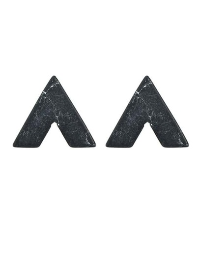 Black Turquoise Triangle Stud Earrings