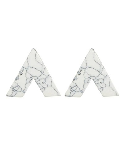 White Turquoise Triangle Stud Earrings