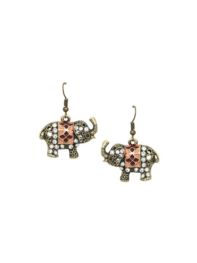 Etched Elephant Drop Earrings