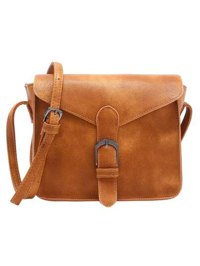 Faux Leather Buckle Strap Flap Bag - Brown