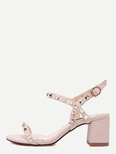 Apricot Open Toe Studded Strap Heels