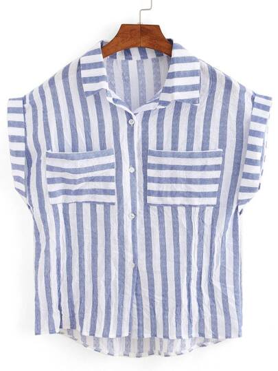 Wide Mixed Striped Dual Pocket Cap Sleeve Blouse