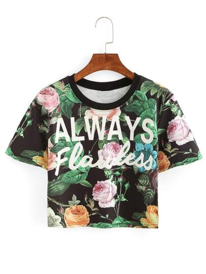 Letter & Rose Print Crop T-shirt