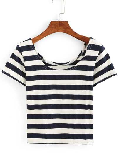 Scoop Neck Striped T-shirt
