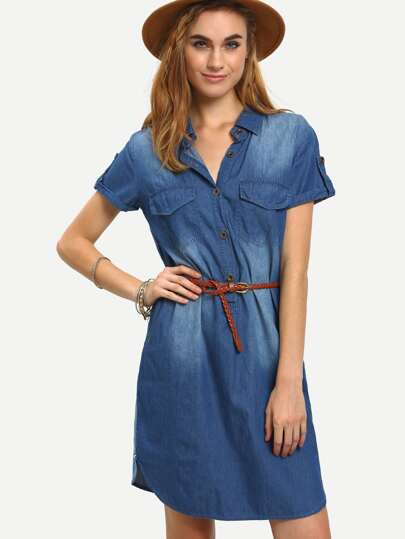 Belted Dual Flap Pocket Denim Shirt Dress