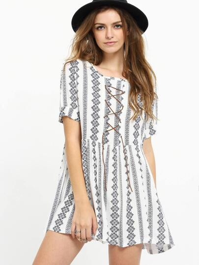Lace-Up Tribal Print Dress