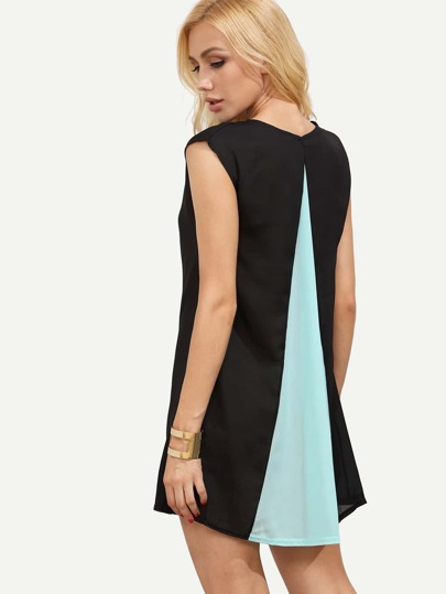 Contrast Color Loose-Fit Chiffon Dress
