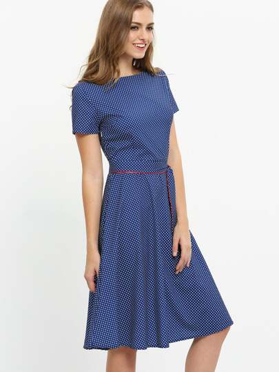 Self-Tie Polka Dot Print Dress