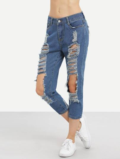 Ripped Straight Ankle Jeans