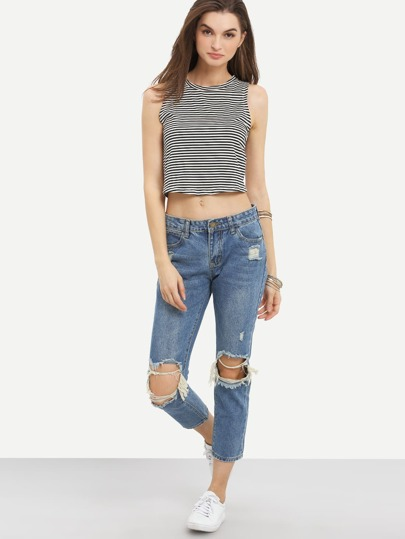 Knee Ripped Ankle Jeans