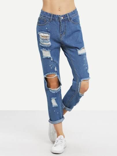 Distressed Paint Splatter Jeans