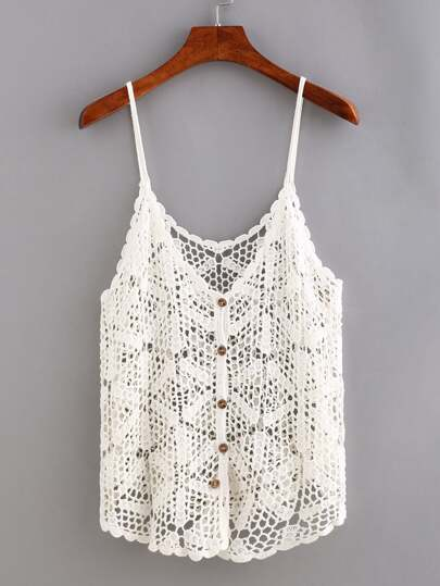 Buttoned Front Hollow Out Crochet Cami Top