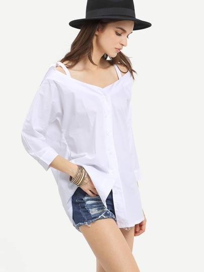 Cold Shoulder Buttoned Front Blouse