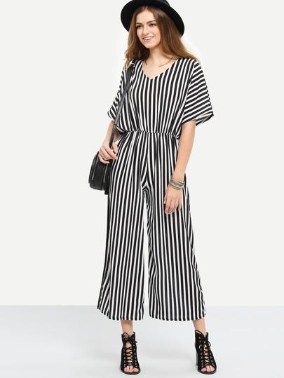 Surplice Back Vertical Striped Jumpsuit