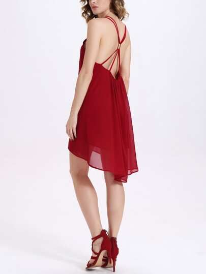Strappy Back Asymmetric Chiffon Cami Dress