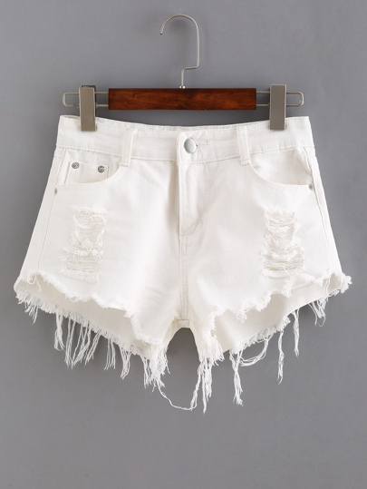 Ripped Raw Hem White Denim Shorts
