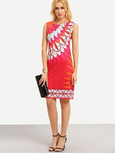 Flower Print Sleeveless Sheath Dress
