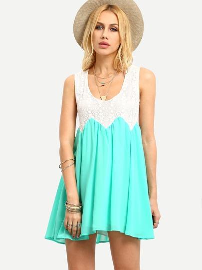 Contrast Lace & Chiffon Tank Dress - Green