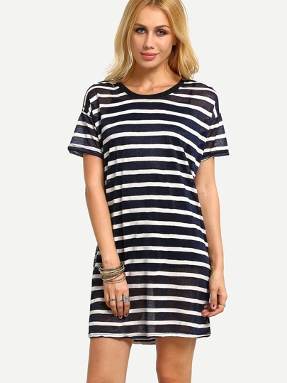 Striped Loose-Fit Dress With Cami Top