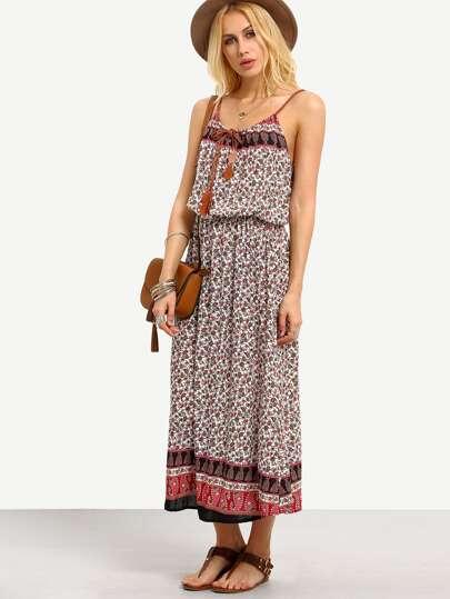 Tie-Neck Paisley Print Blouson Cami Dress