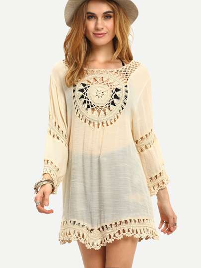 Crochet Insert Loose-Fit Dress