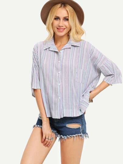 Drop Shoulder Loose-Fit Striped Blouse