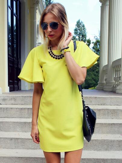 Yellow Short Sleeve Shift Dress