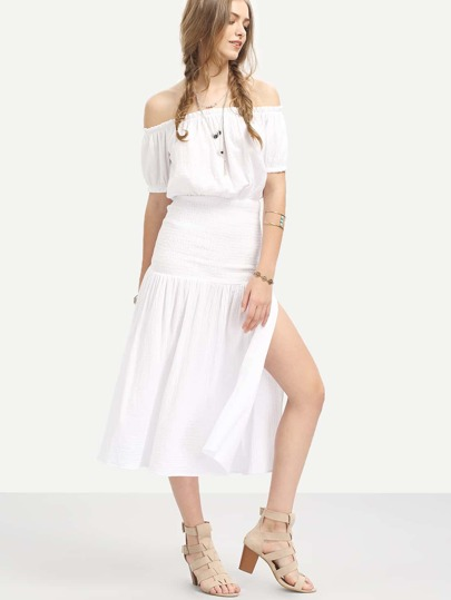 White Off The Shoulder Split Side Midi Dress