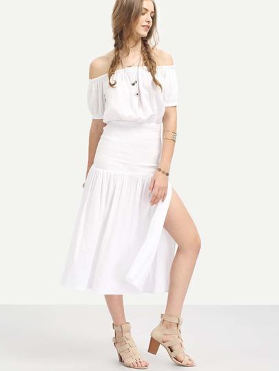 White Off The Shoulder Split Side Midi Dress
