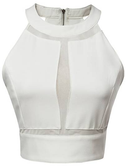 White Gauze Splicing Zipper Back See-through Camis Top