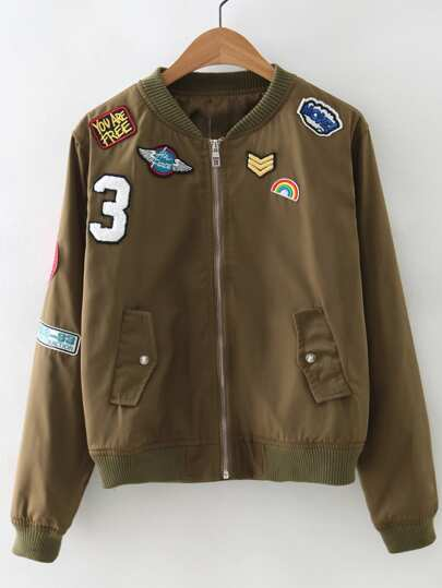 Zipper Front Badge Embroidery Jacket